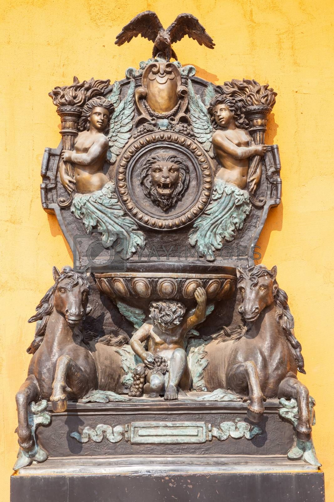 Beautiful Sculpture European style on yellow wall background