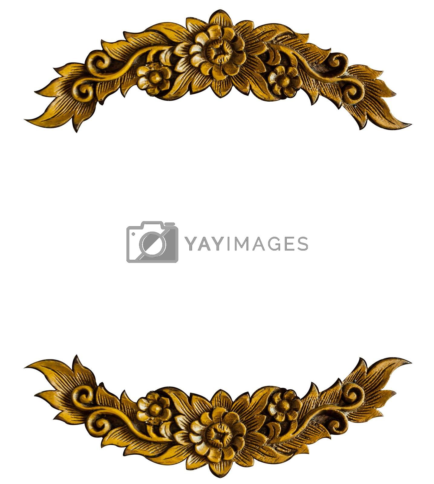 Pattern of wood frame carve flower on white background