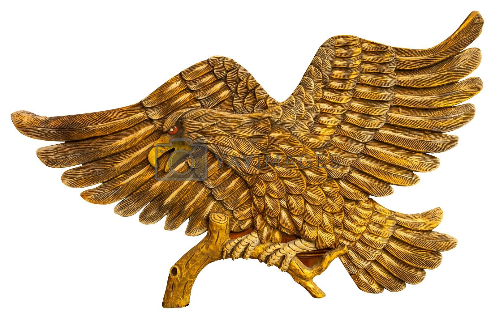 Thai style golden bird carving isolated on white background