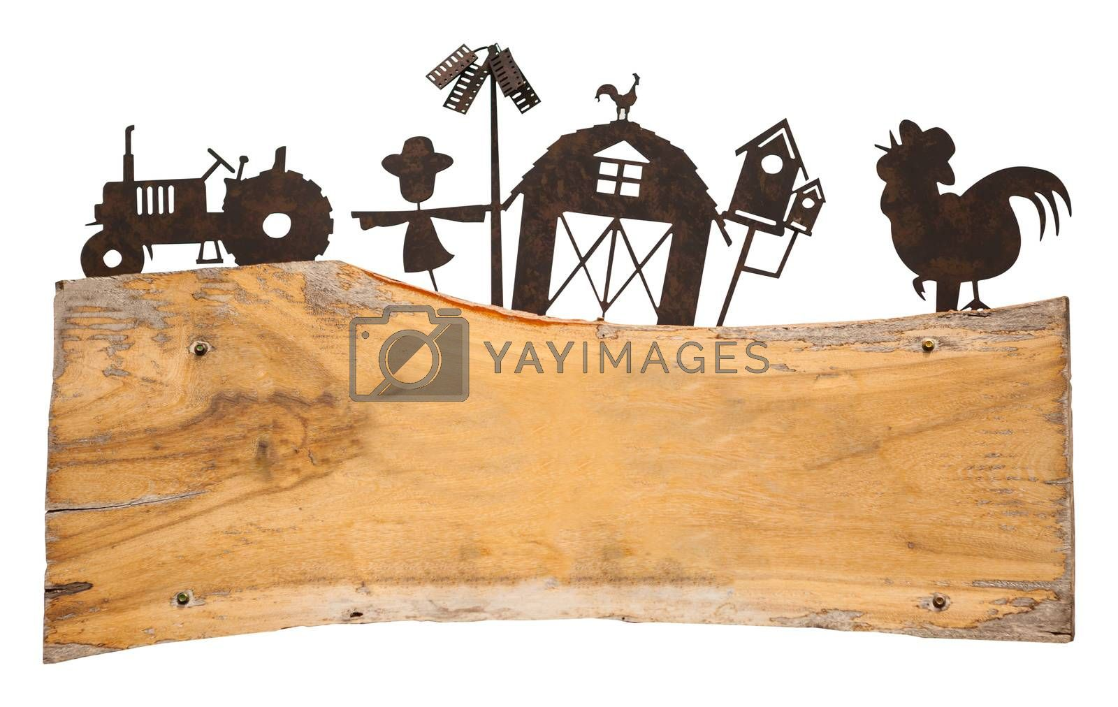 farm wood banner frame isolated on white background
