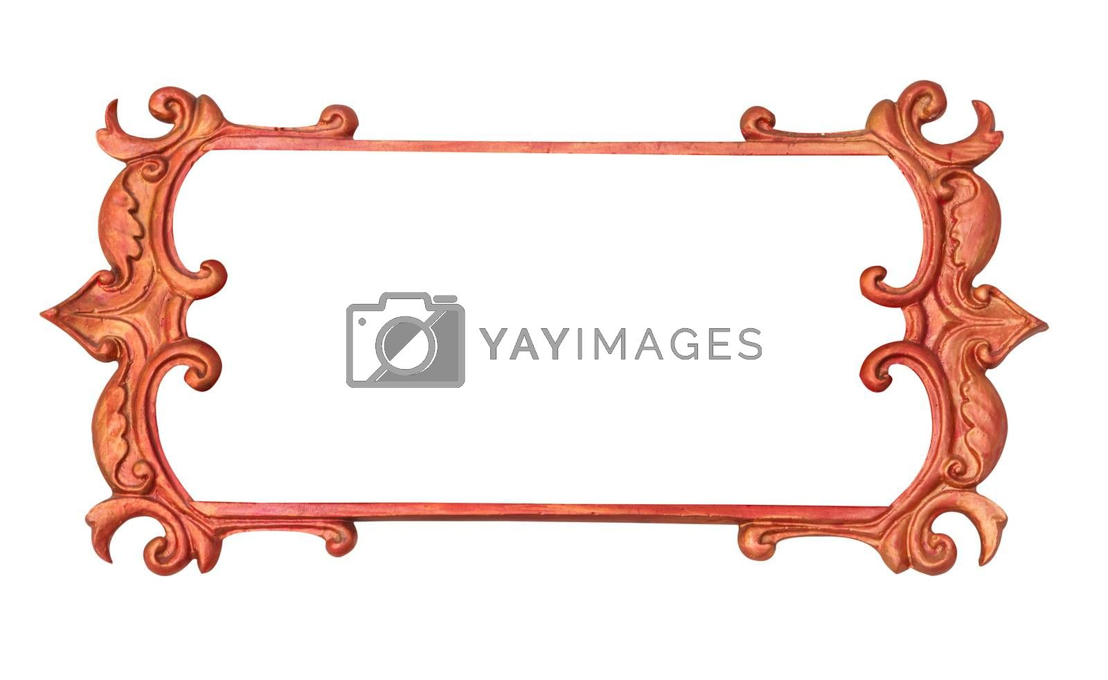 Gold metal art frame isolated on white background
