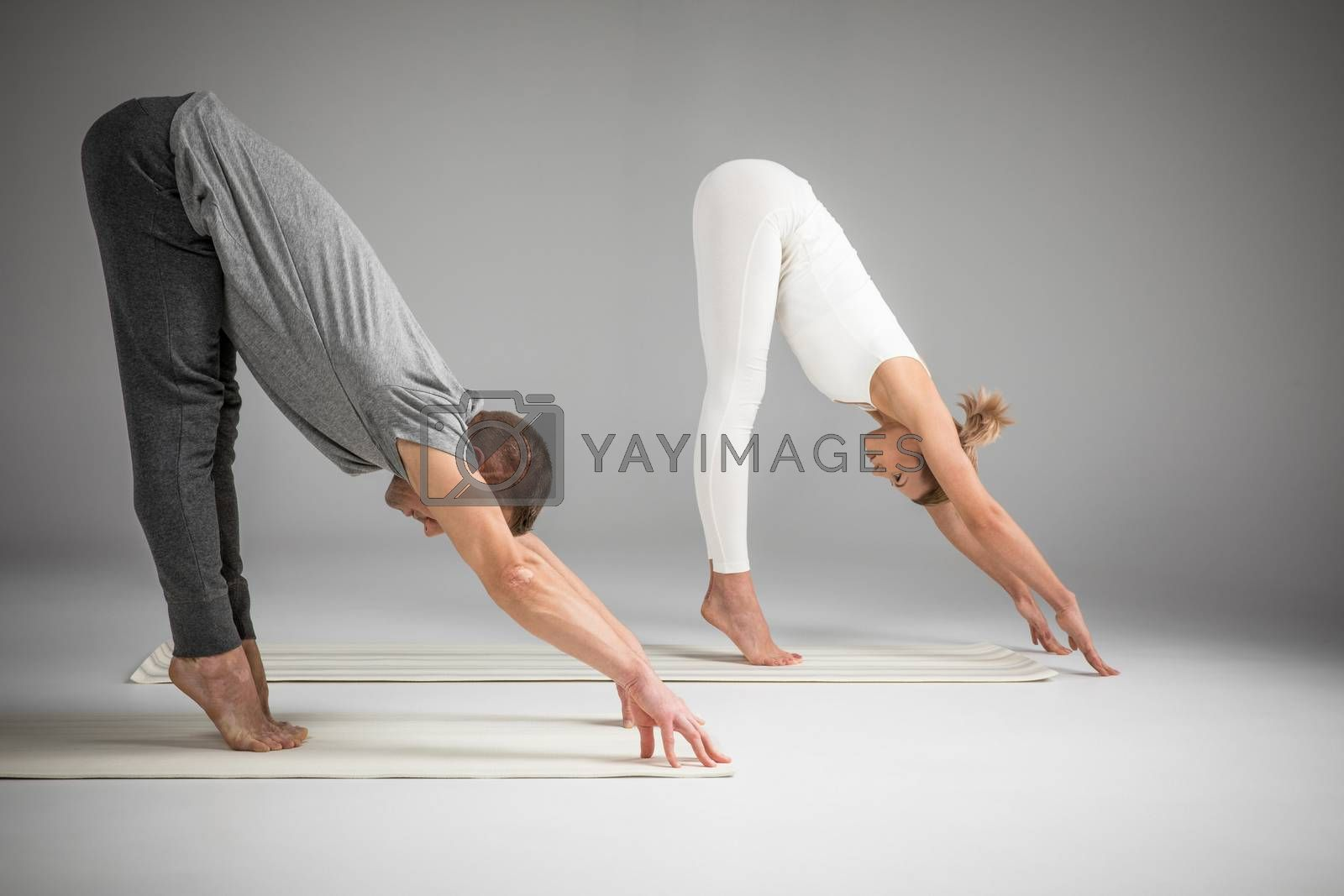 Side view of couple practicing yoga and stretching on yoga mats