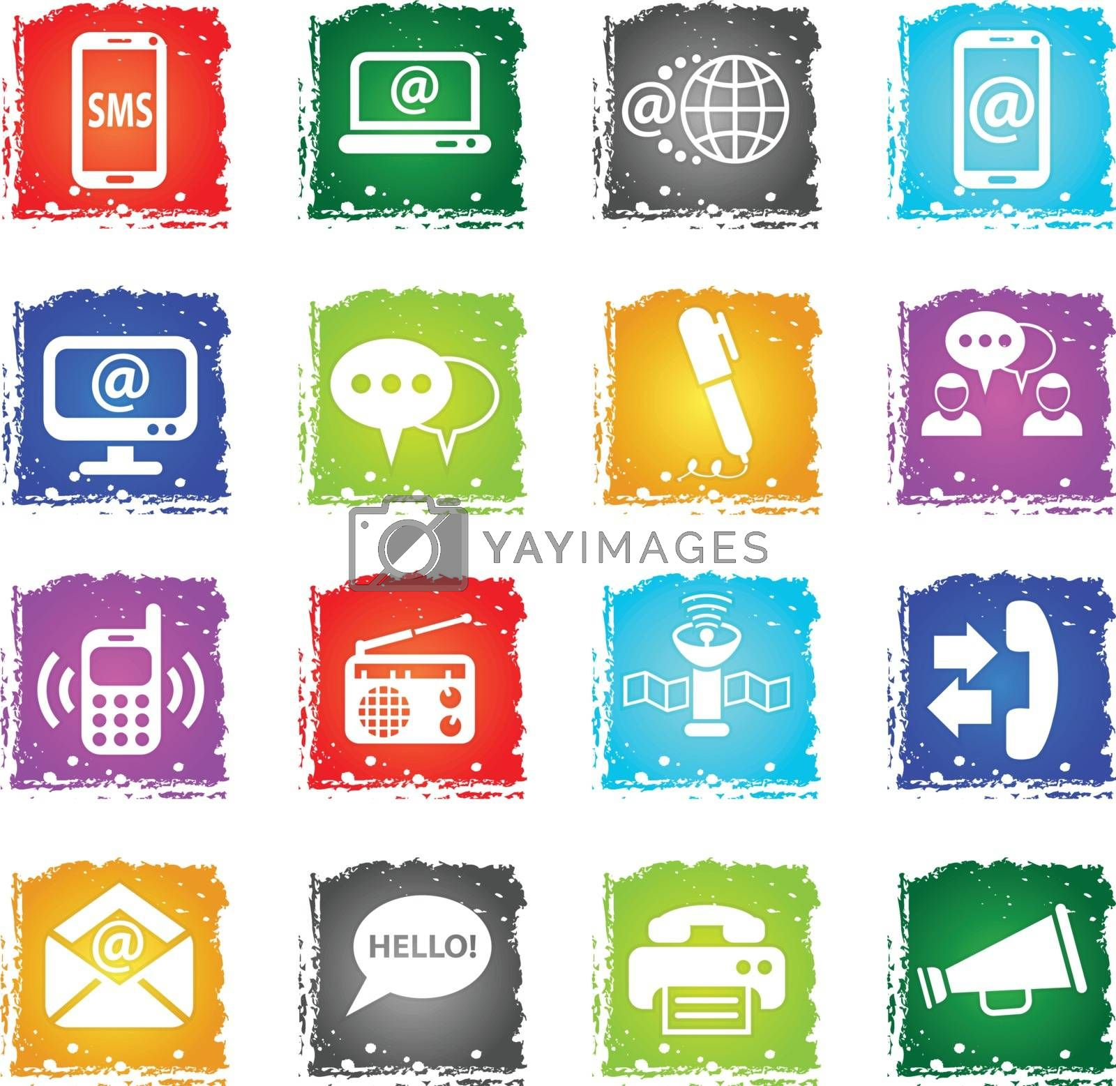 communication web icons in grunge style for user interface design