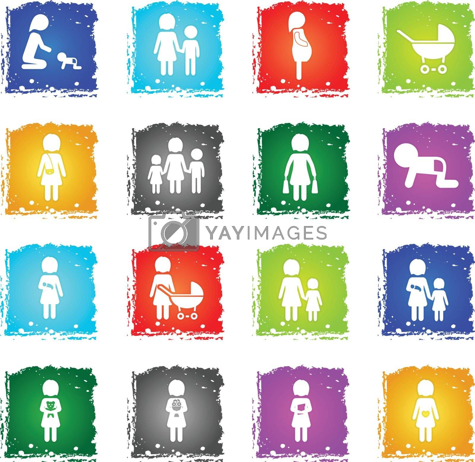 People and family simply symbols in grunge style for user interface design
