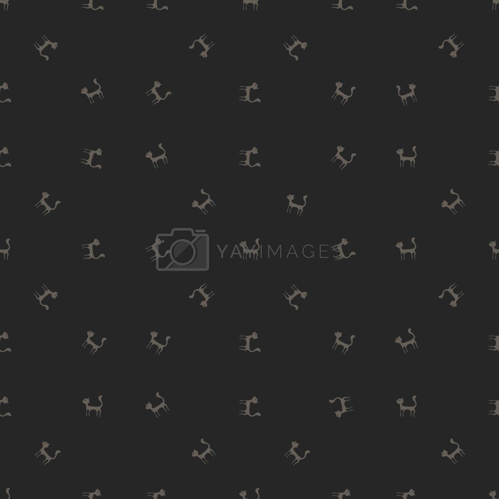 Grey Cats Seamless Pattern. Animal Pets Silhouettes  Background.