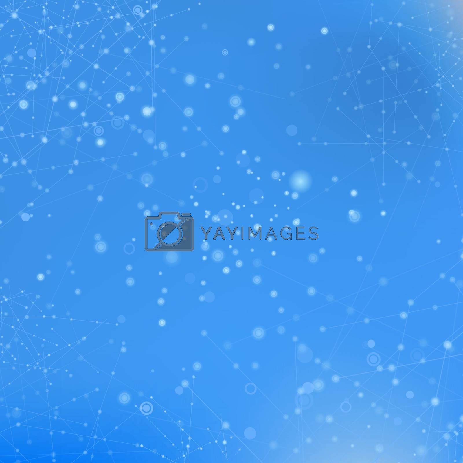 Blue Technology Background with Particle, Molecule Structure. Genetic and Chemical Compounds. Communication Concept. Space and Constellations.
