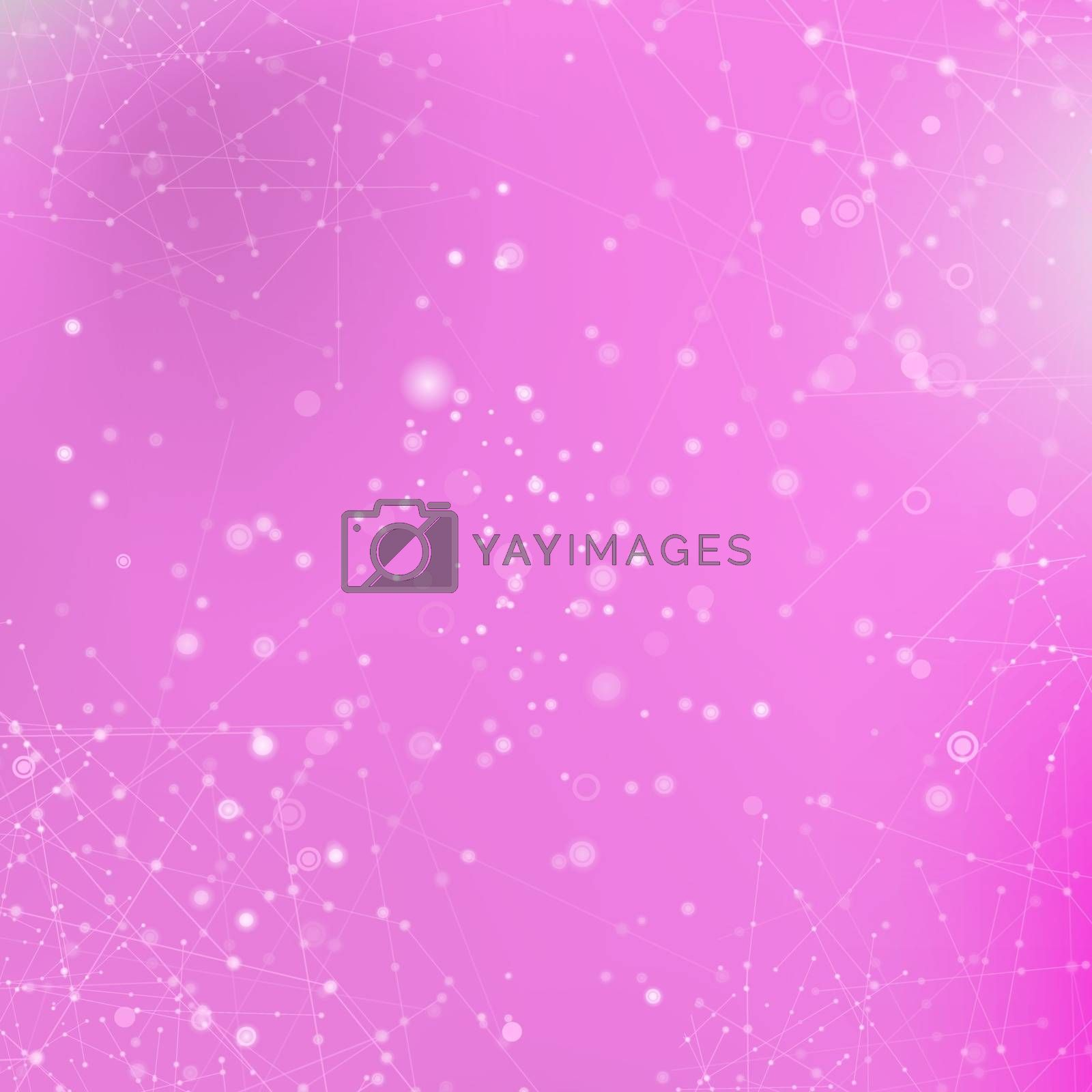 Pink Technology Background with Particle, Molecule Structure. Genetic and Chemical Compounds. Communication Concept. Space and Constellations.