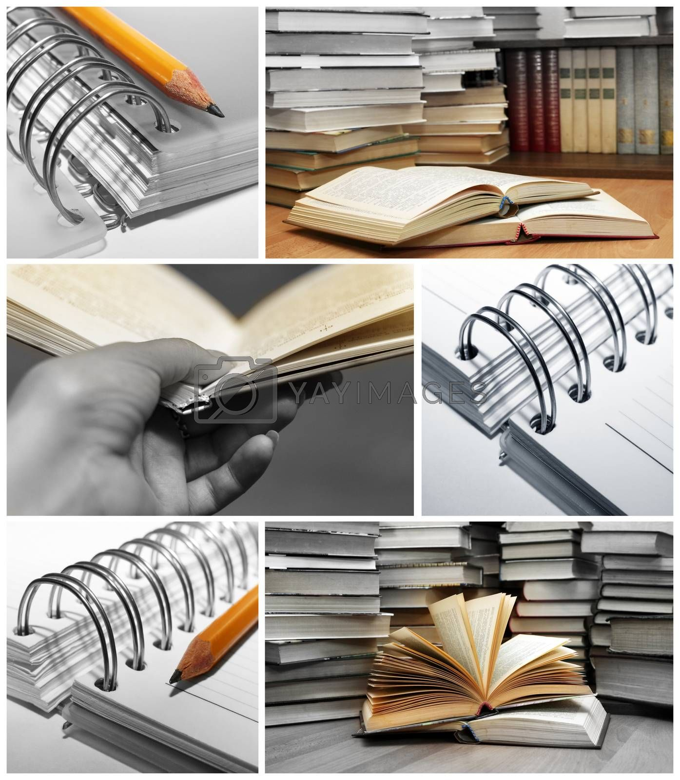 Collage of opened and stacked books