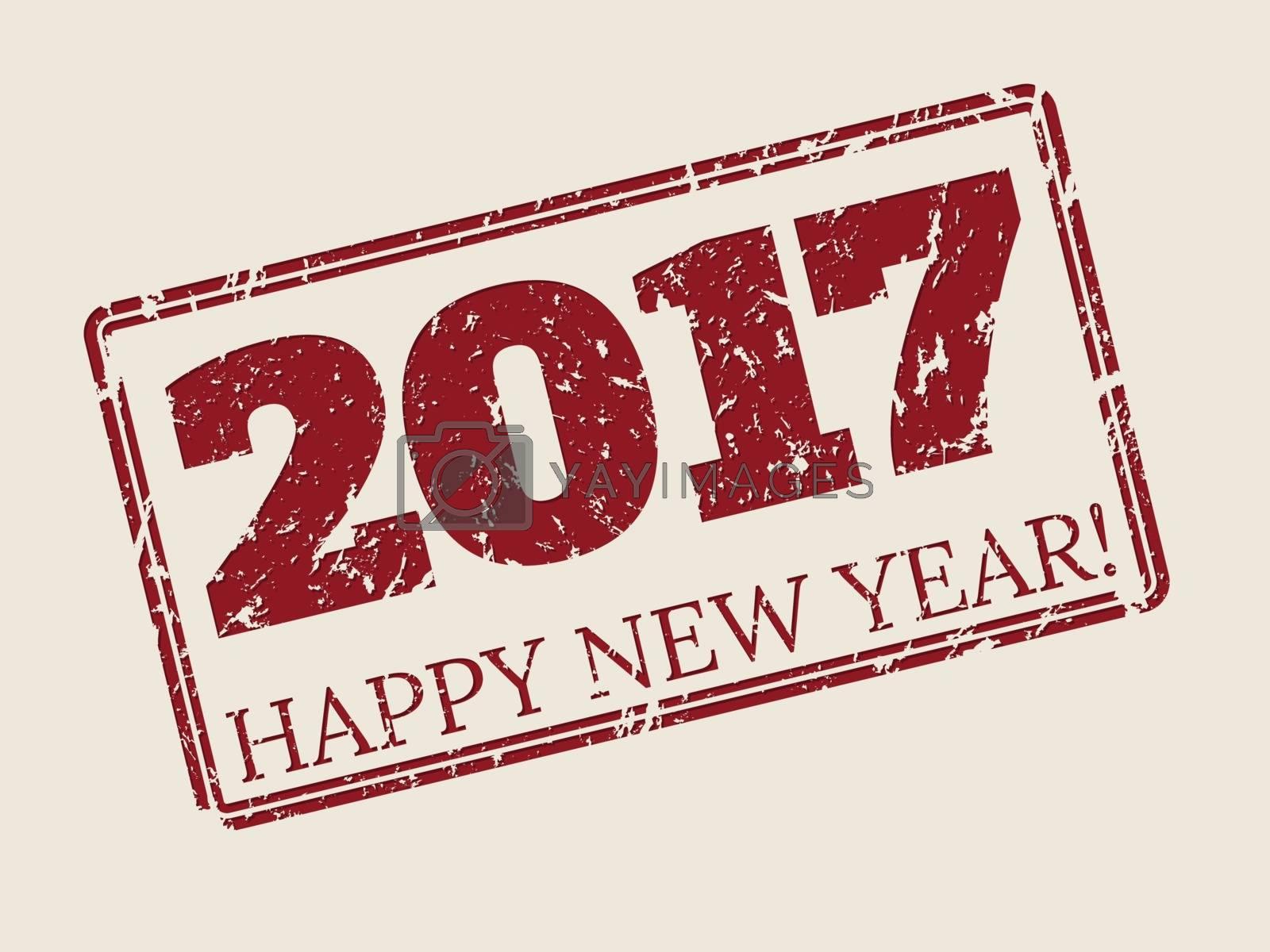 Happy new year 2017 stamper design by vipervxw
