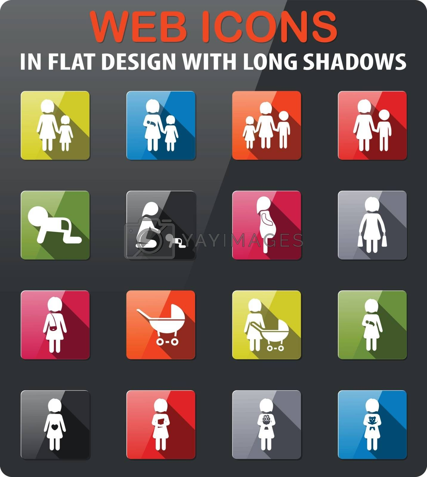 People icons set in flat design with long shadow