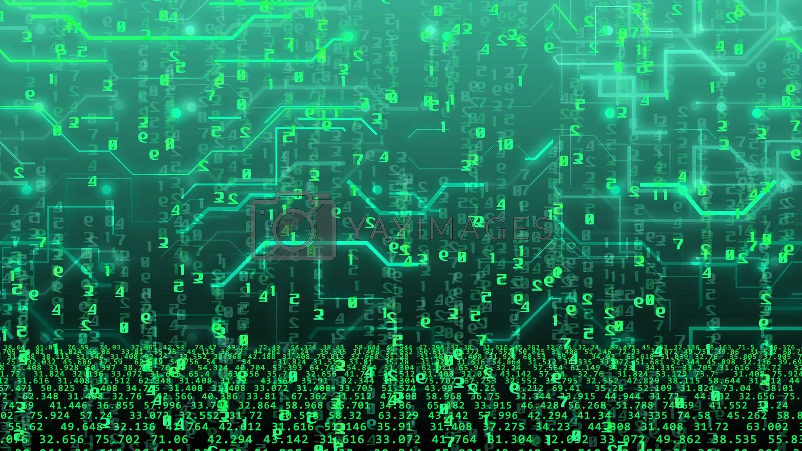 Abstract technology concept with numbers and circuit board imitation on a green background. Internet technology business concept. 3d rendering.