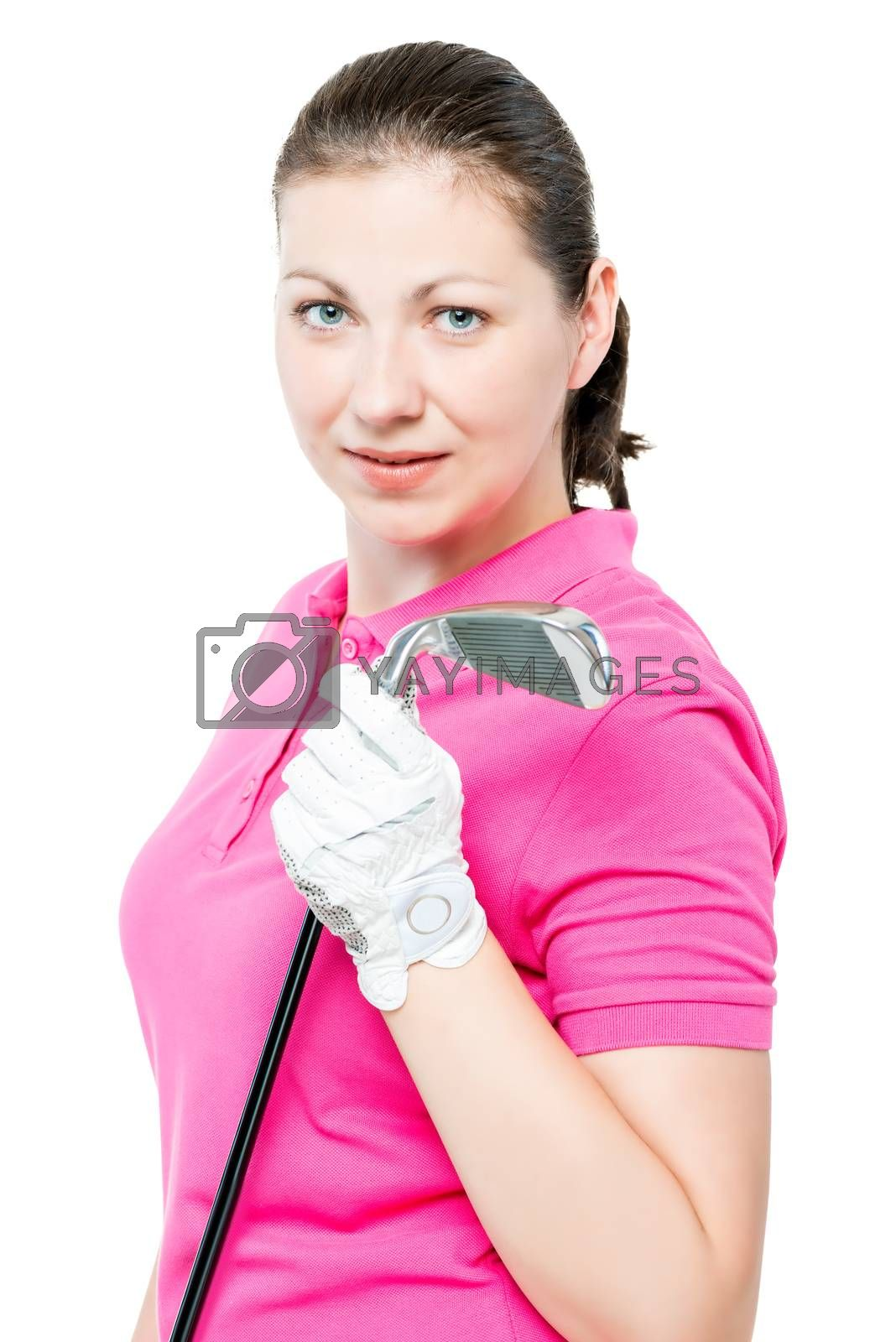 cute brunette has a hobby playing golf, portrait on a white background