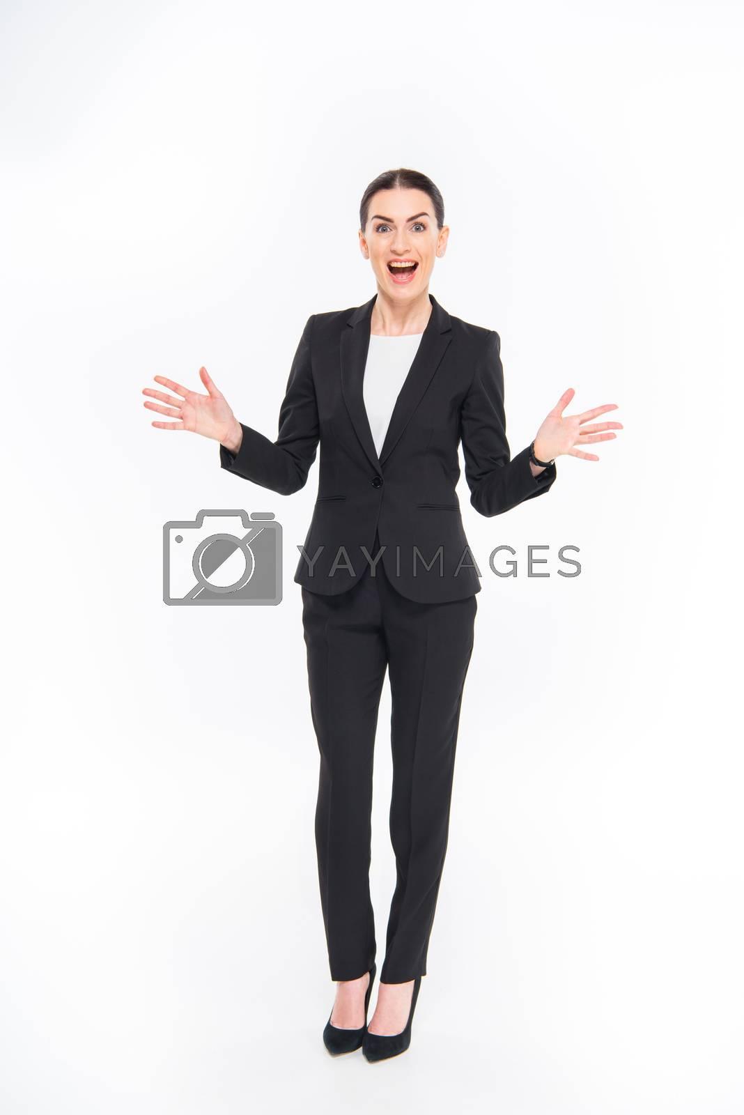 Royalty free image of Shocked businesswoman gesturing  by LightFieldStudios