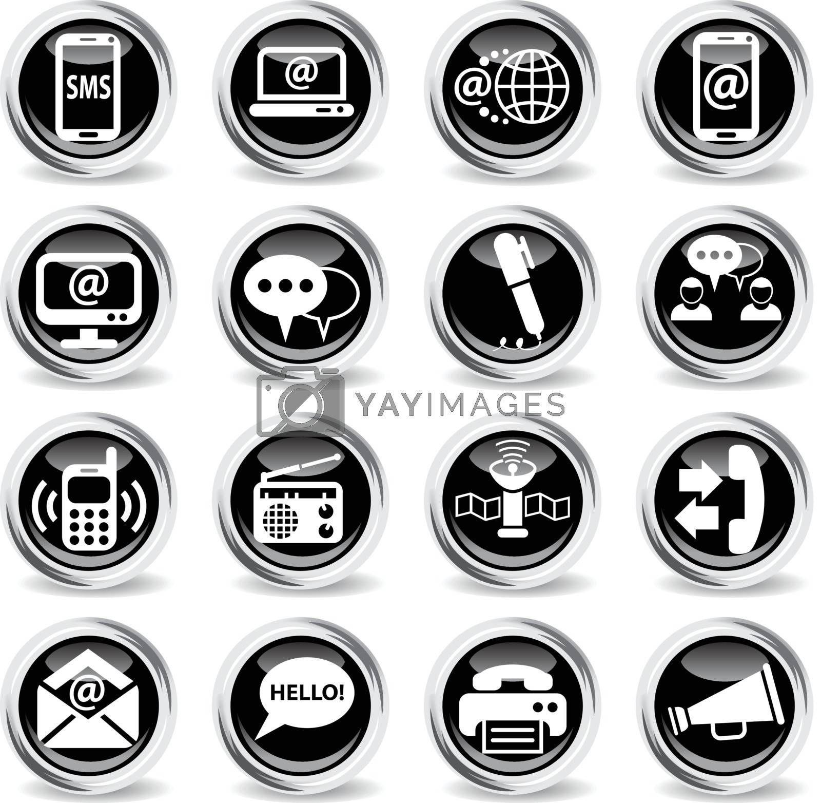 communication icons on stylish round chromed buttons