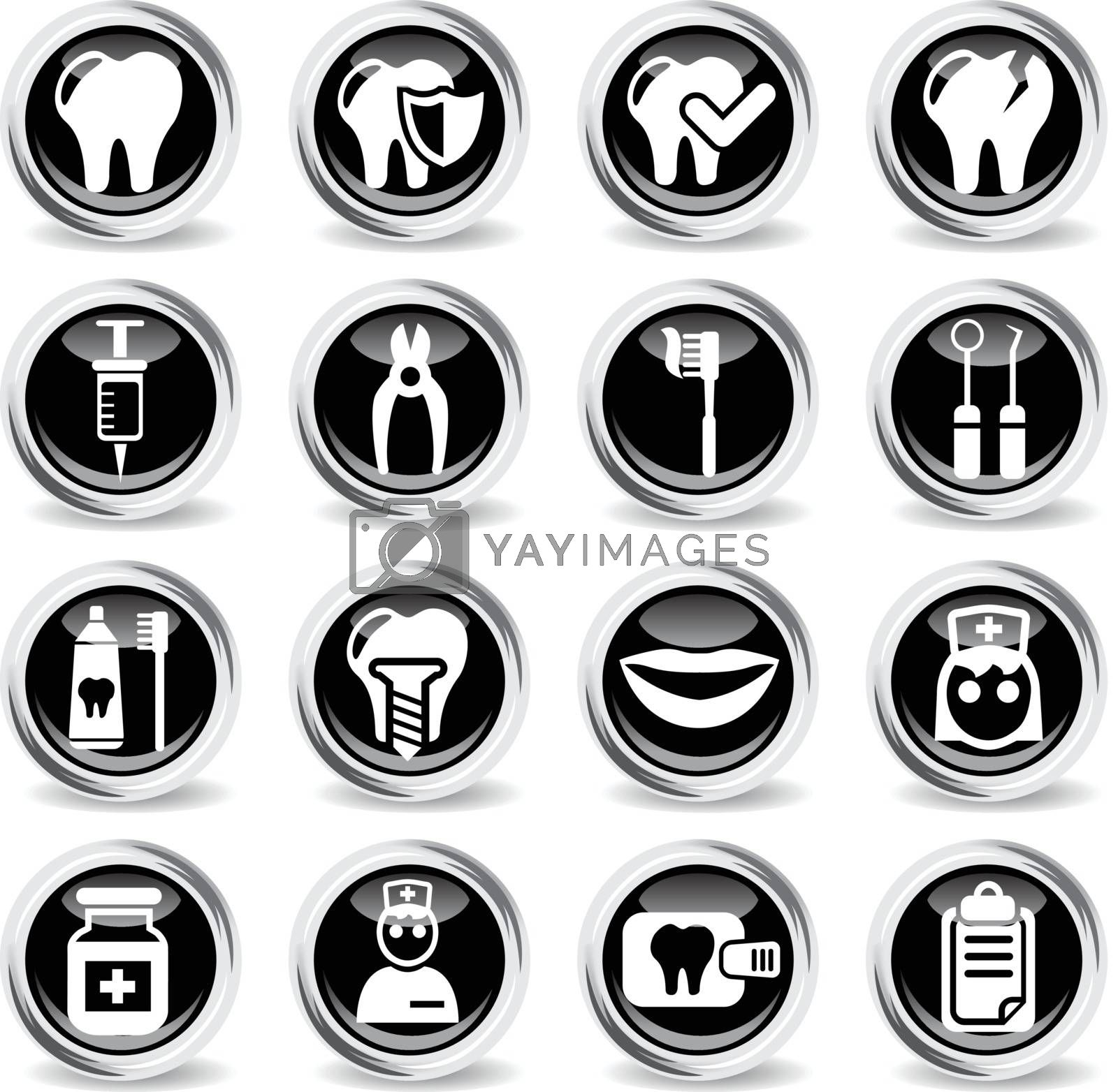 dental office icons on stylish round chromed buttons