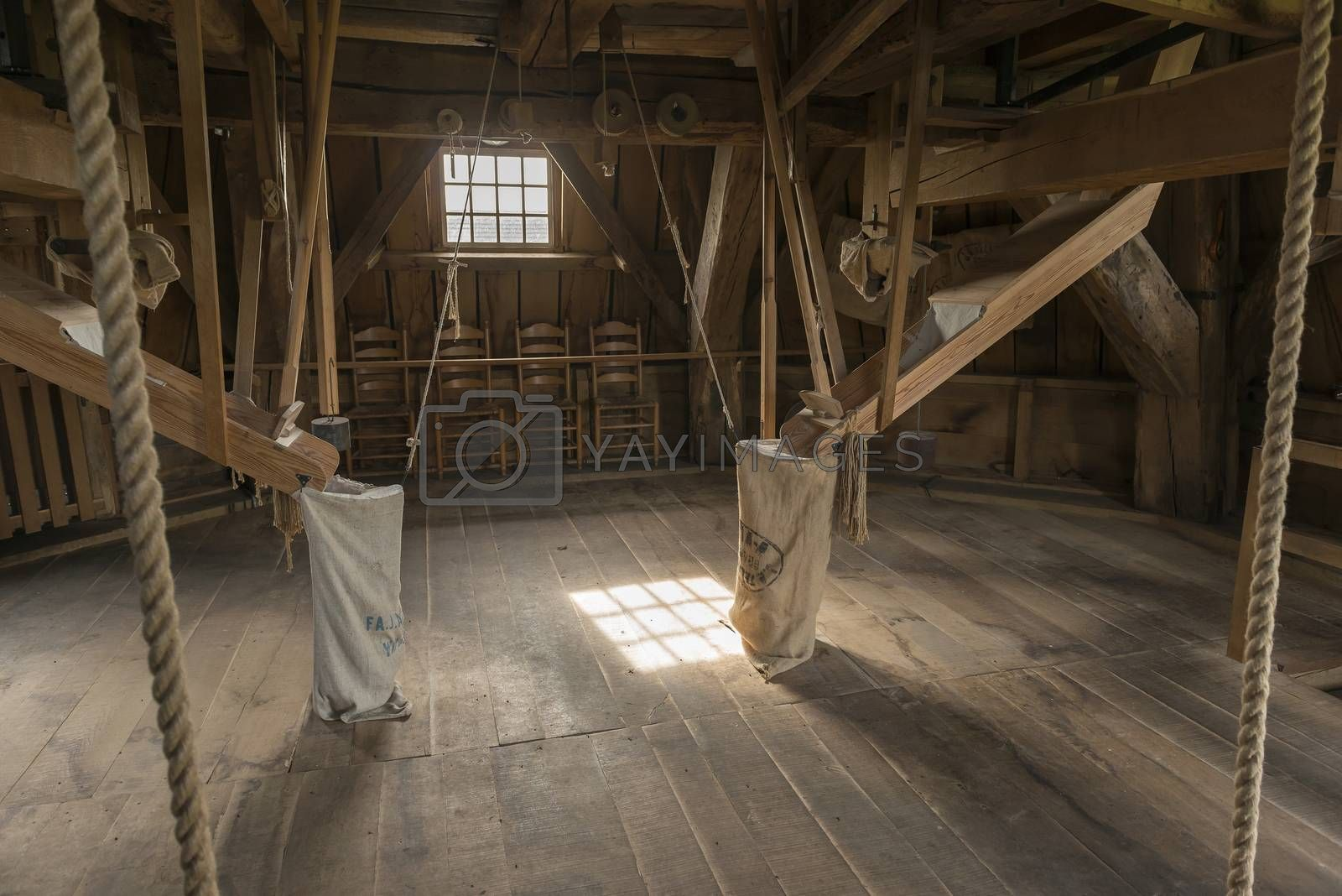 Wooden interior of the historic corn mill Bataaf in Winterswijk in the Netherlands