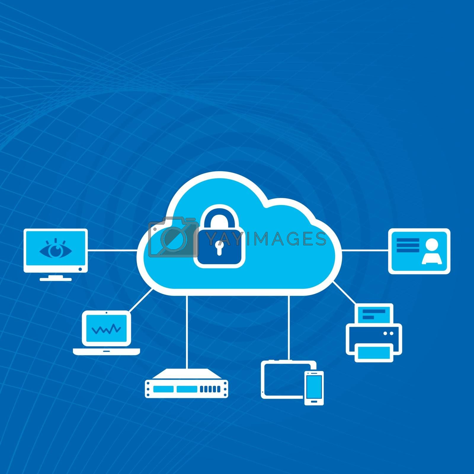 Gadgets and electronics connected to the cloud and locked with padlock on blue radial waves background. Cloud security concept vector illustration