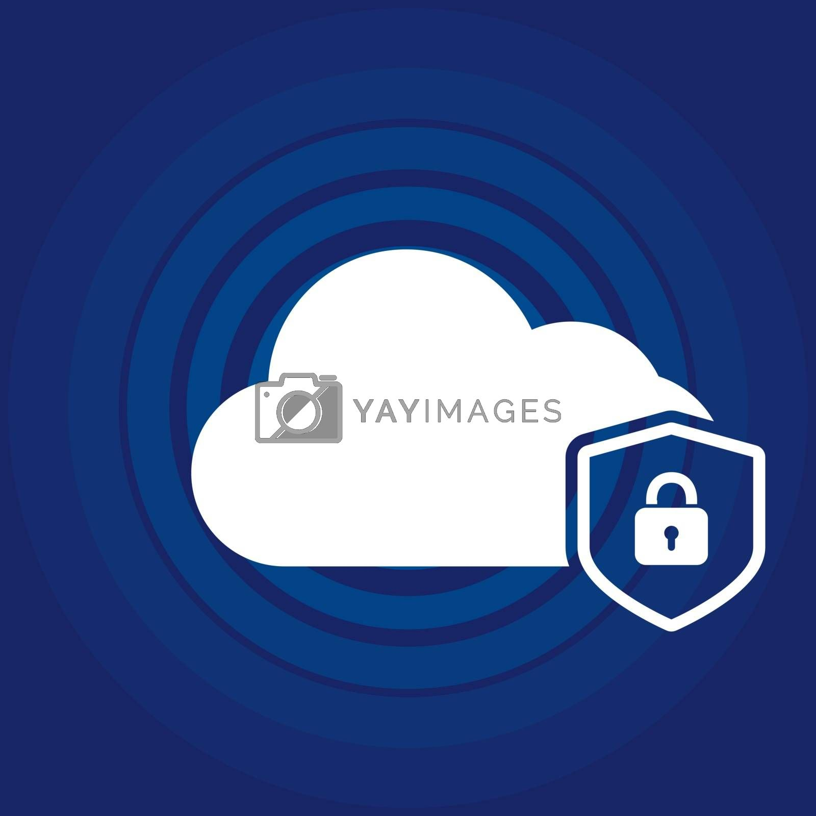 Cloud security concept icon locked with padlock on blue background and radial waves. Vector illustration