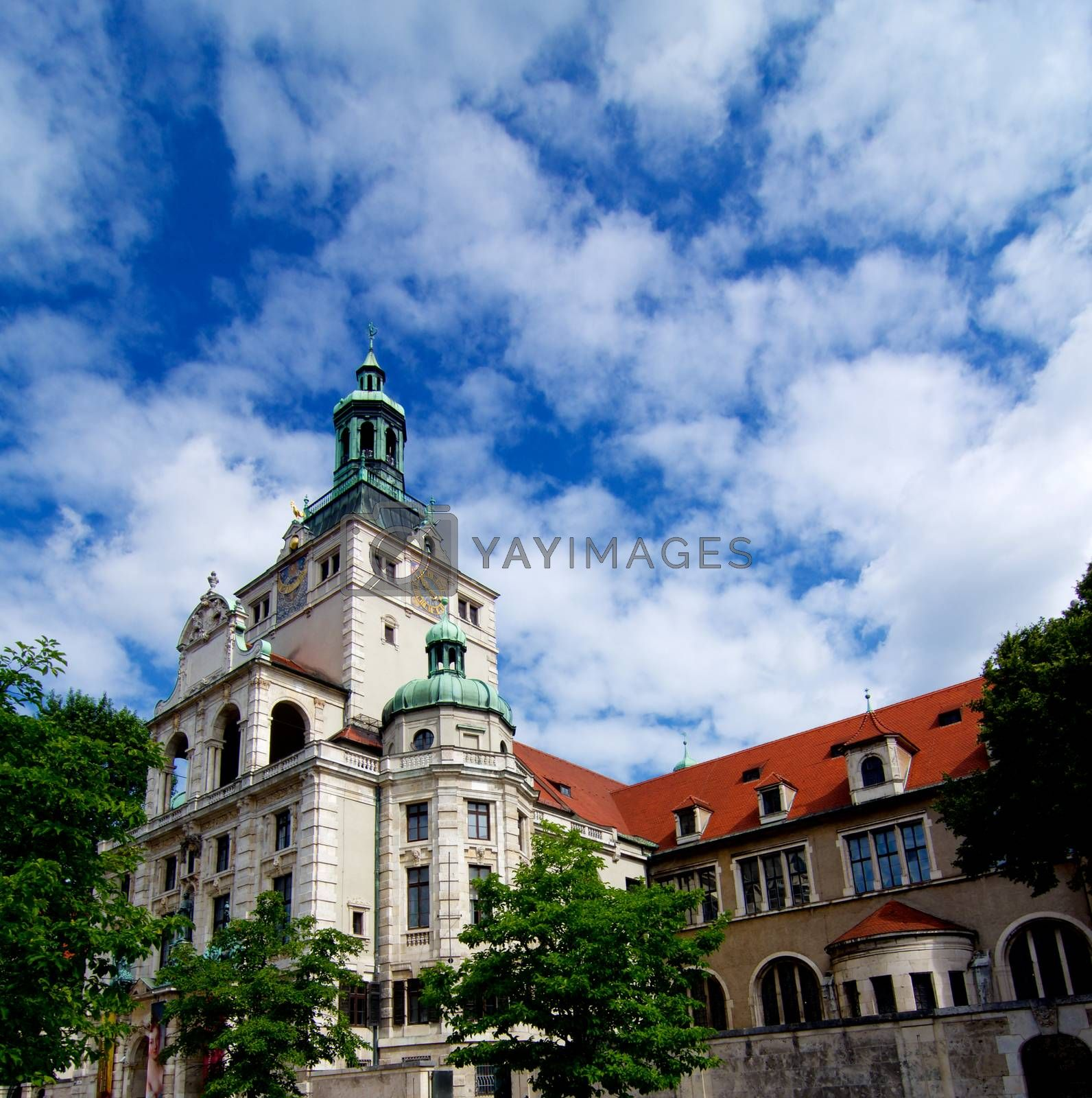 Building of Bavarian National Museum Bottom up View against Cloudy Blue Sky Outdoors. Munich, Germany