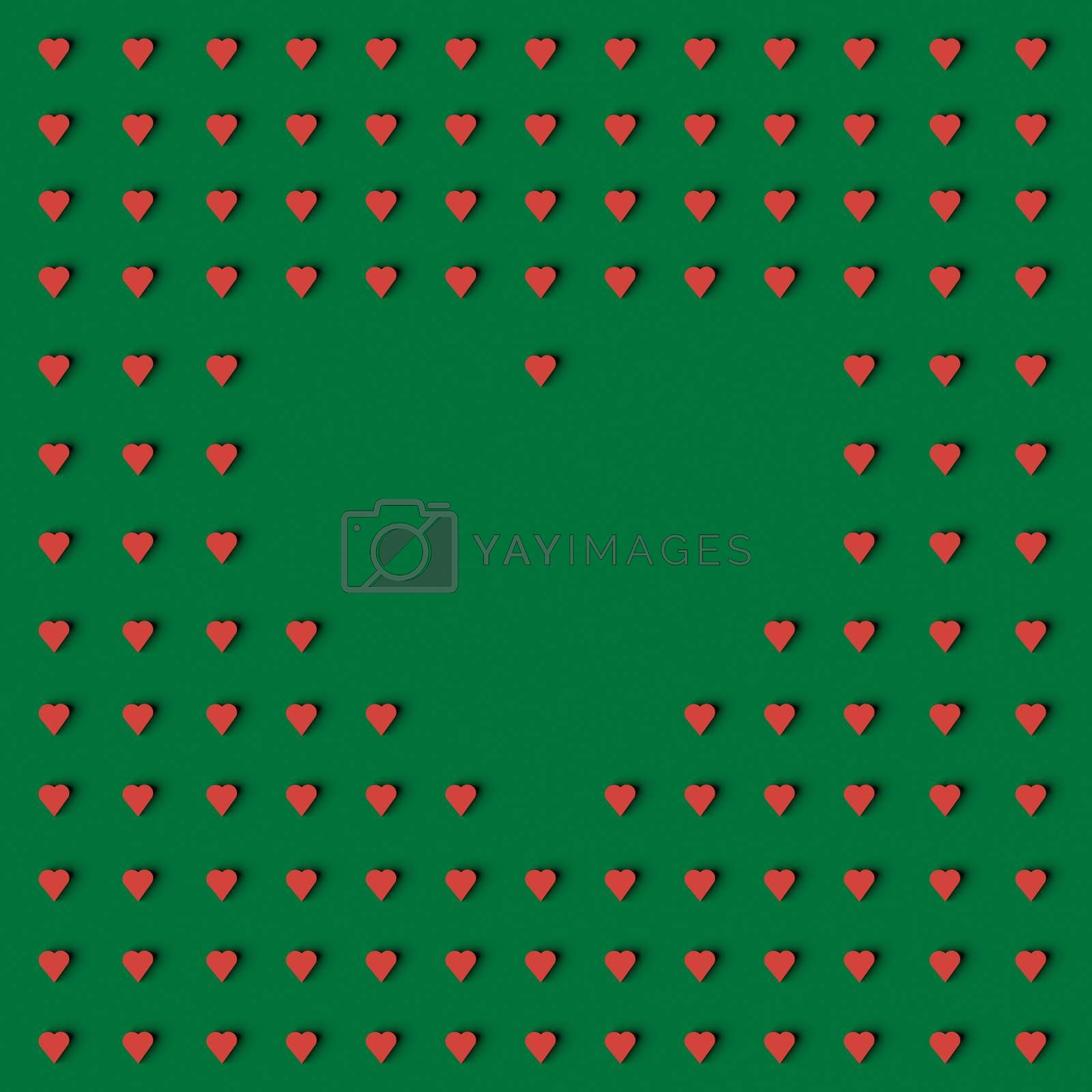 3D RENDERING OF HEART SHAPE FRAME MADE WITH SMALL HEARTS