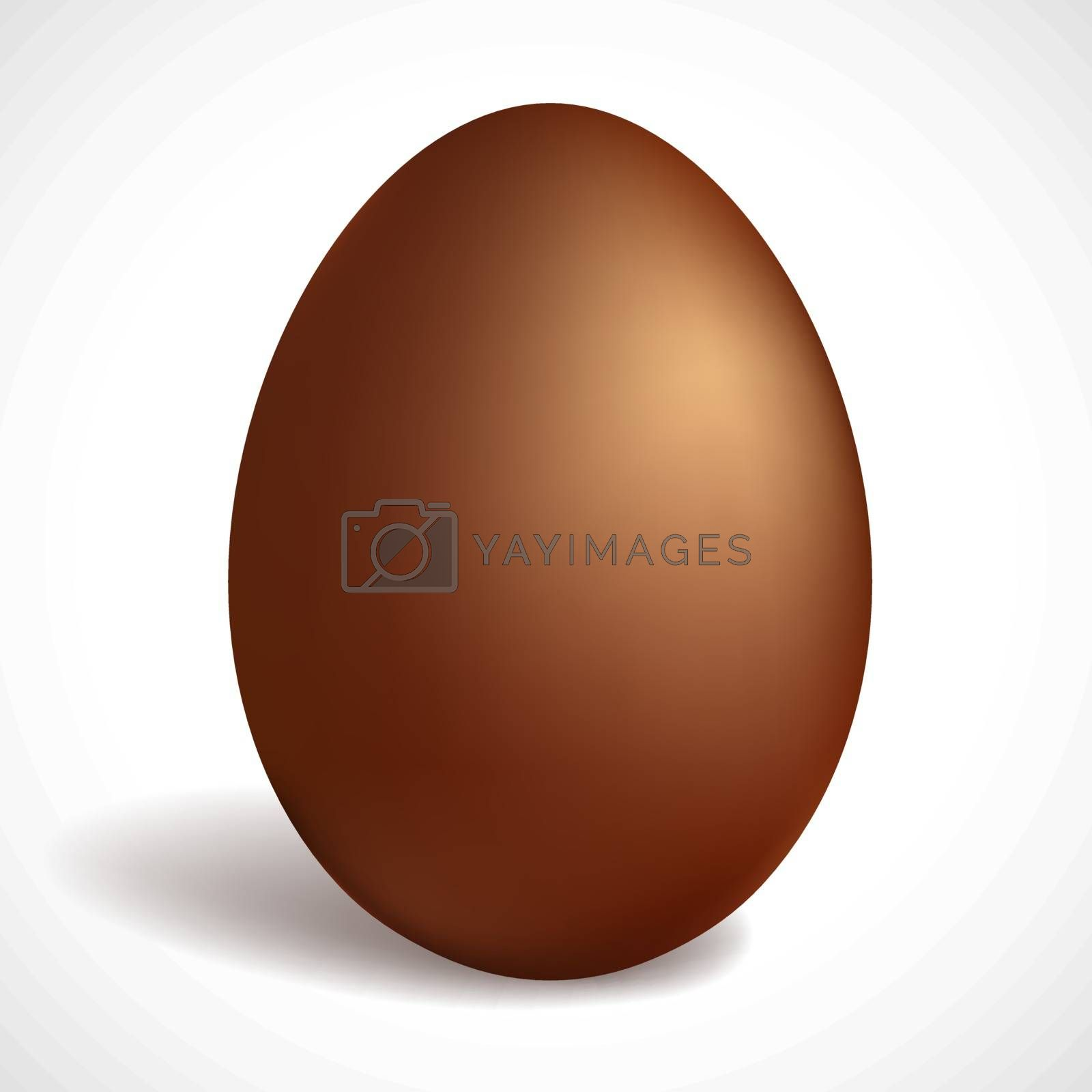 Chocolate egg isolated on white background. Happy Easter concept design. Milk chocolate.