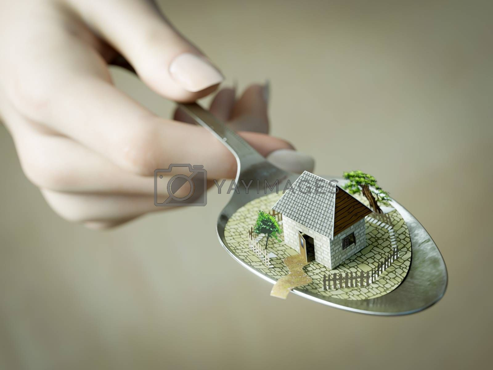 woman hand holding spoon with paper house real estate business concept photo