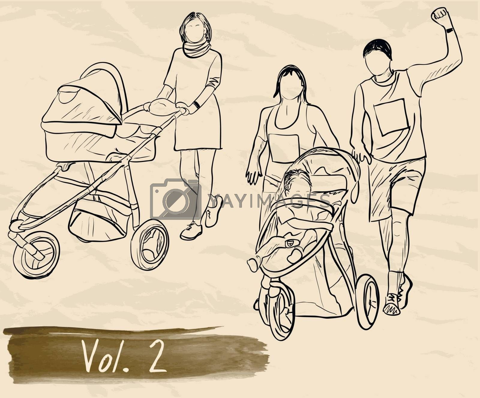 Ser with silhouettes about family. Eps10 vector illustration.