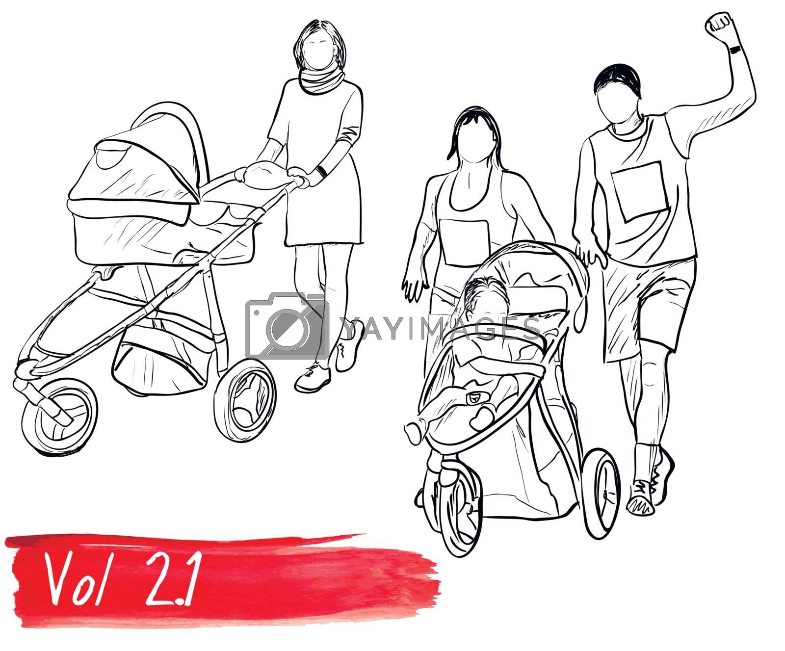 Ser with silhouettes about family. Eps8 vector illustration.