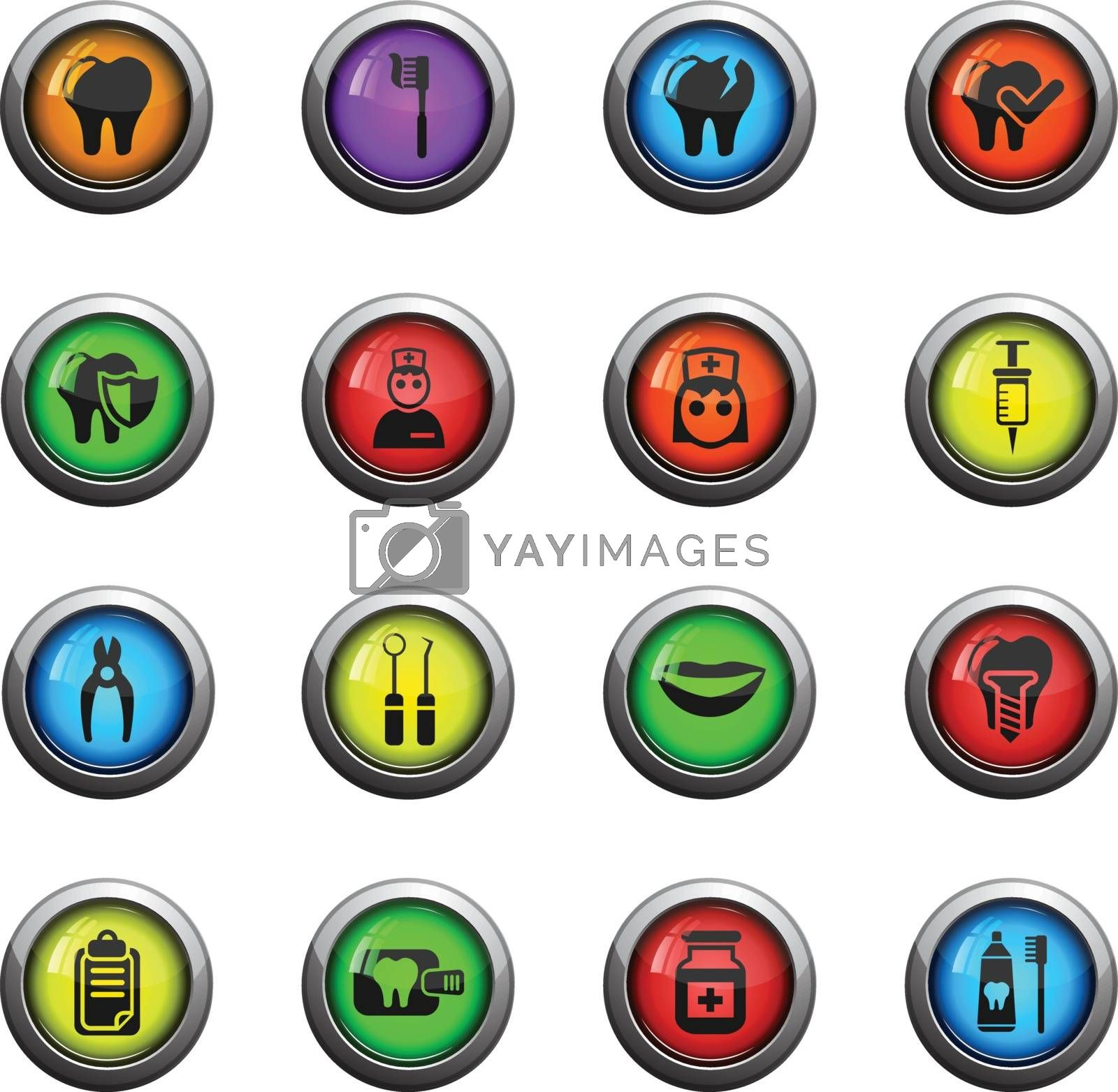 dental office icons on color round glass buttons for your design