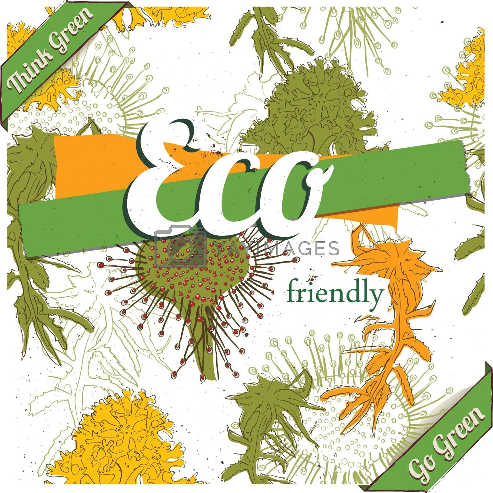 Eco friendly poster with seamless texture. Vector illustration EPS10