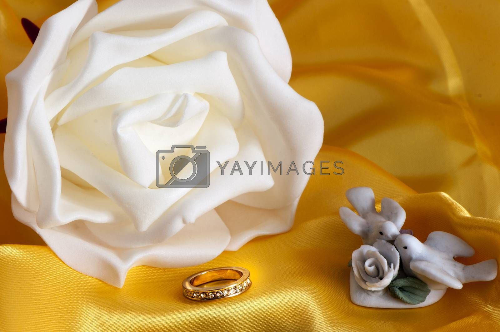 wedding rings on  a colorful fabric background