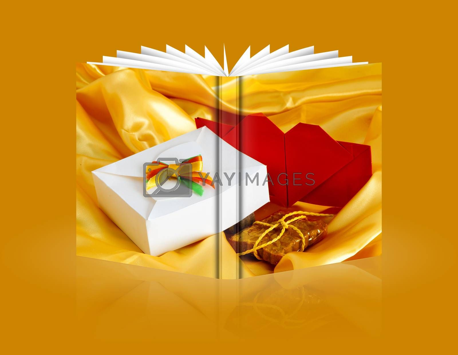 book of weddings favors on yellow background