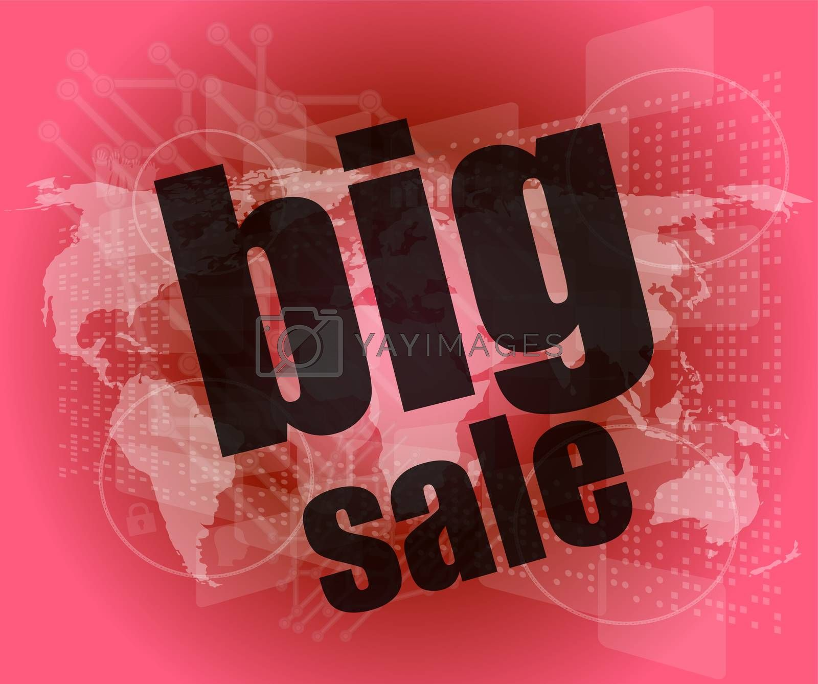 big sale words on business digital touch screen