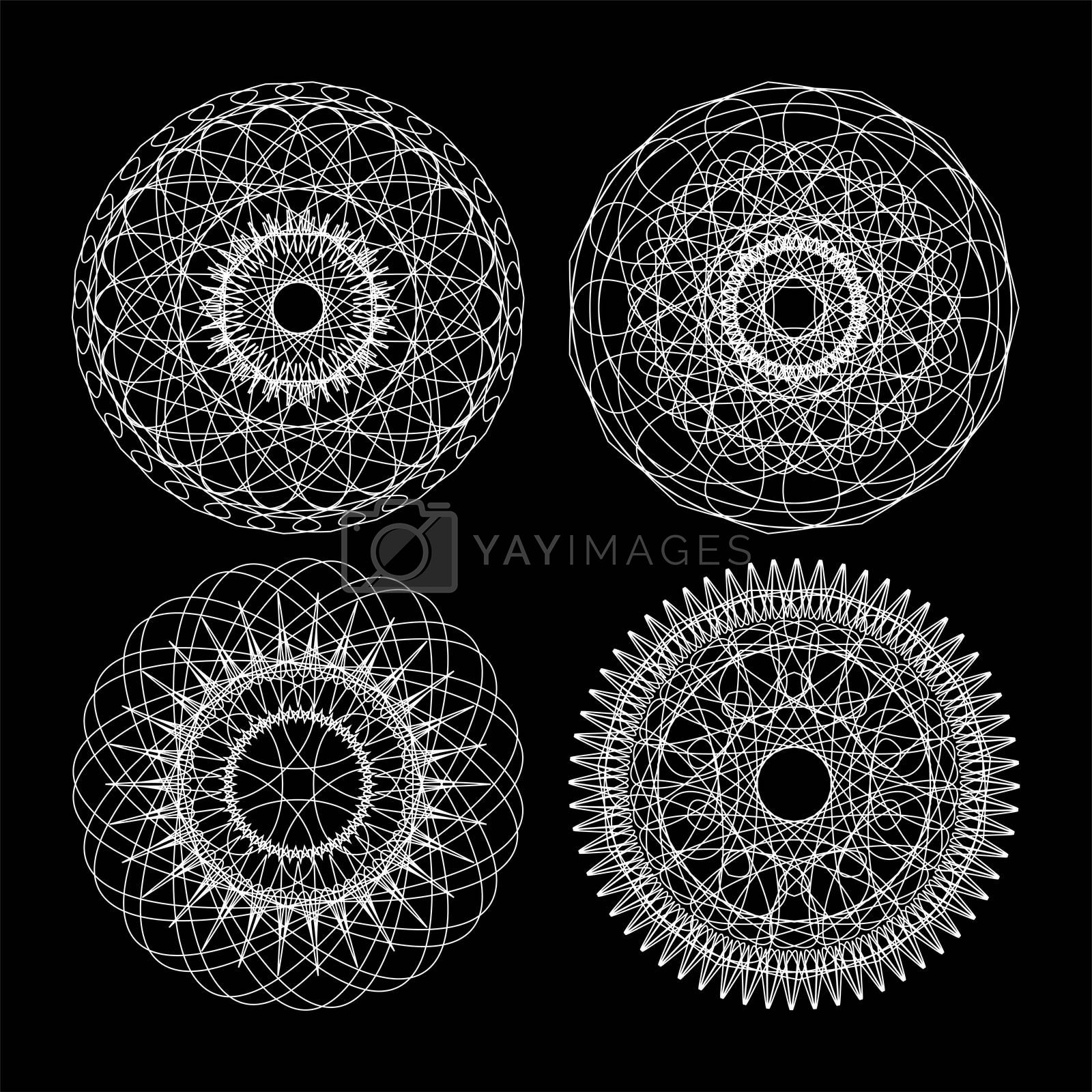 Guilloche set. Black and white circle lace ornament, round ornamental geometric pattern