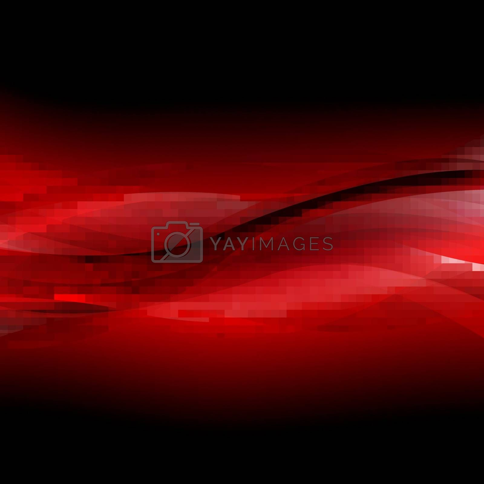 Red And Black Line With Gradient Mesh, Vector Illustration