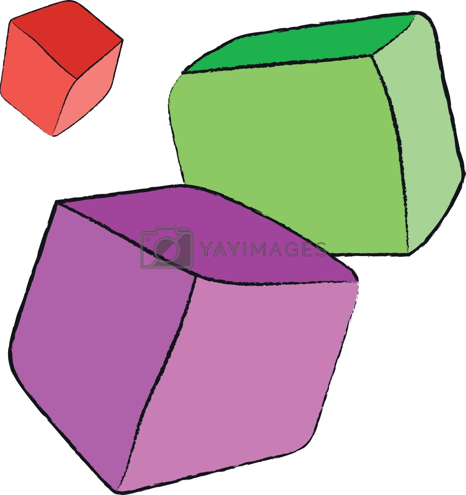 Colored hand drawn rolling and bouncing children toys cubes without letters isolated on white background. Vector illustration