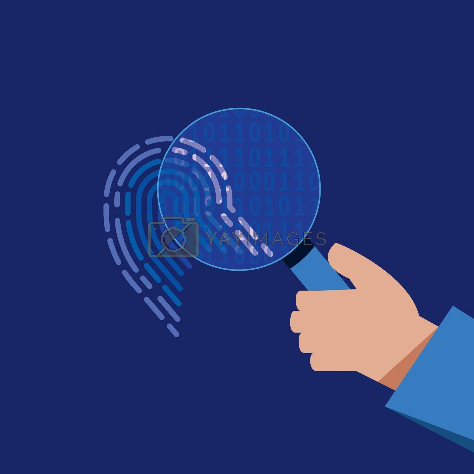 A hand holds a magnifying glass and views a digital fingerprint in binary code. Cyber security flat conceptual vector illustration