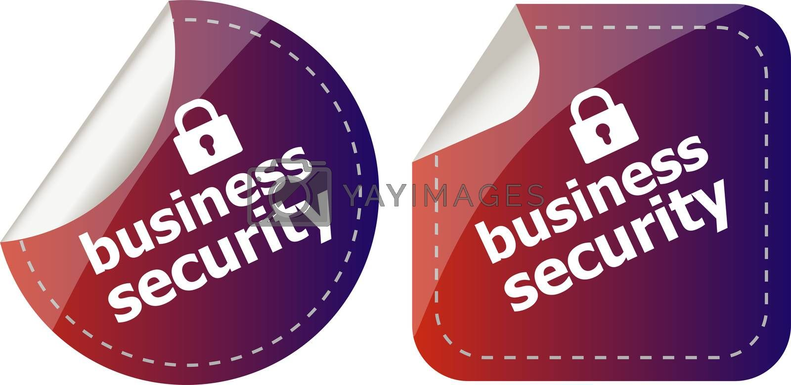 business security stickers label tag set isolated on white