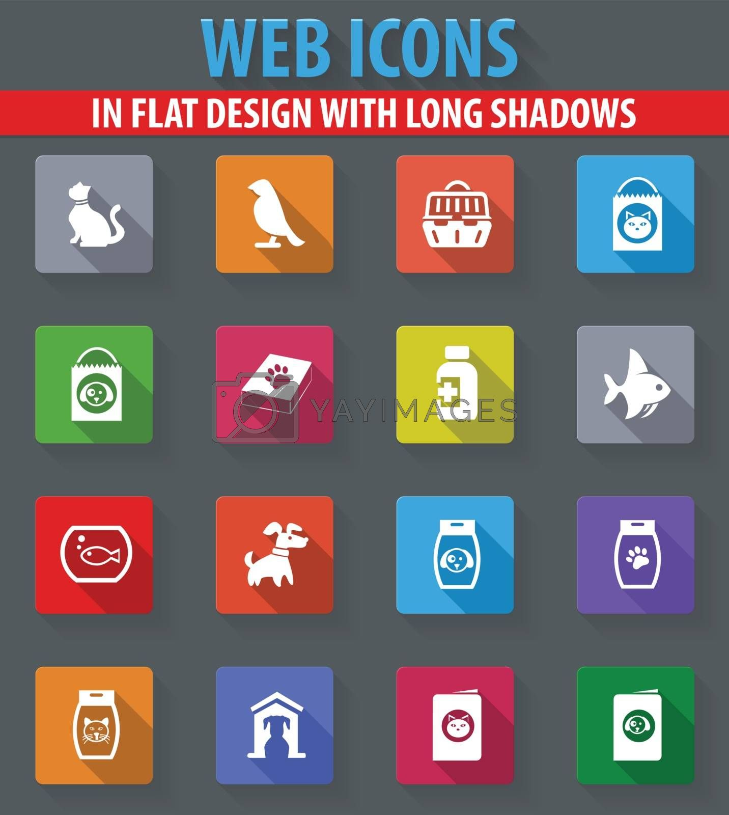Goods for pets web icons in flat design with long shadows