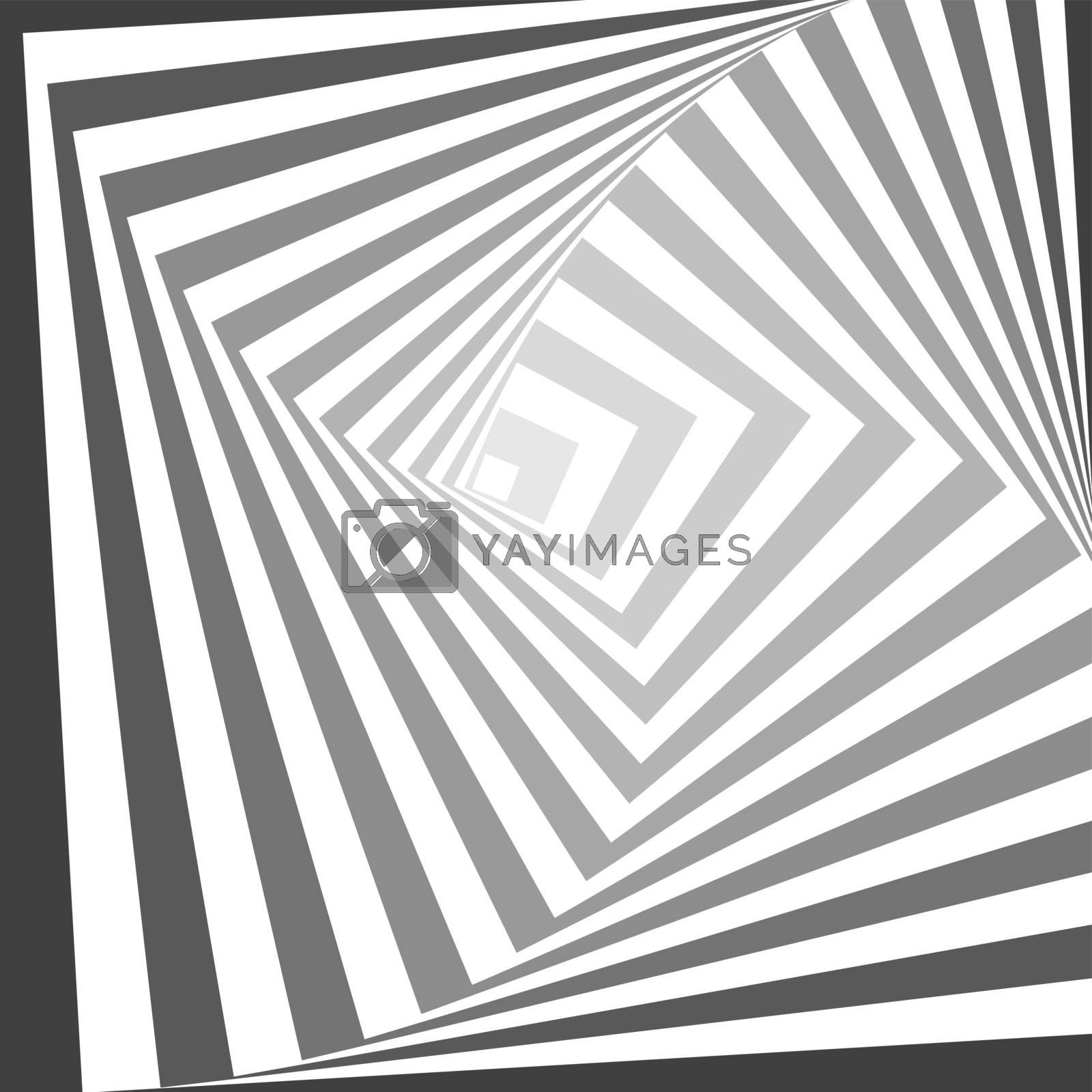 Abstract geometric swirl lines vector pattern. Black and white