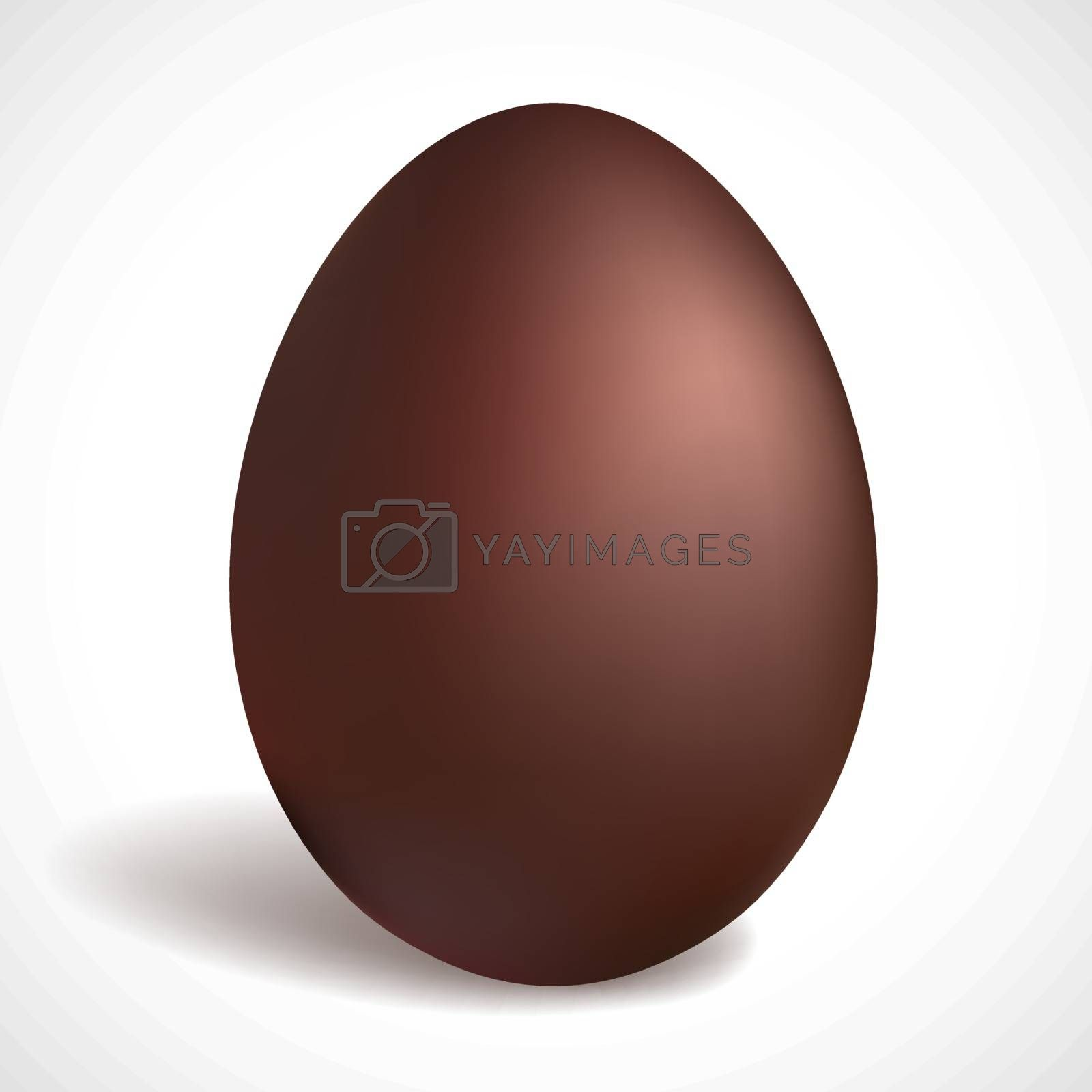 Chocolate egg isolated on white background. Happy Easter concept design. Dark chocolate.