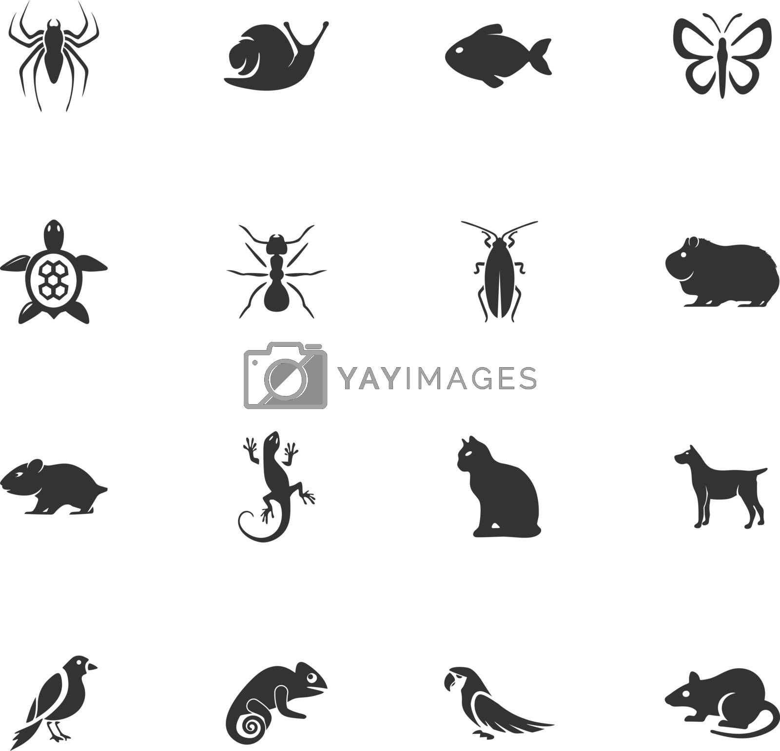 Pets types vector icons for user interface design
