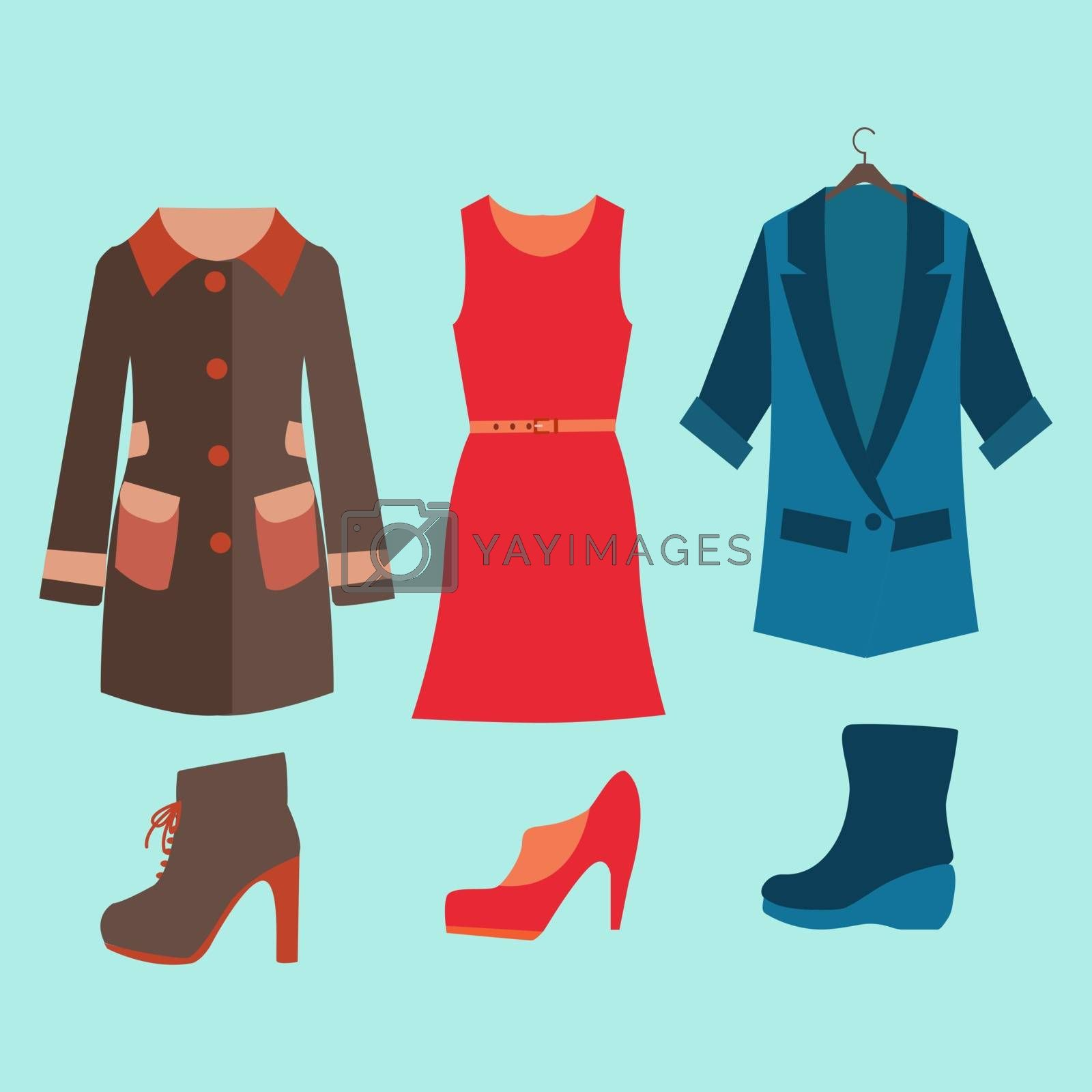 Fashion collection of spring and Autumn woman wardrobe - Illustration. Vector fashion clothes and shoes for women for design.