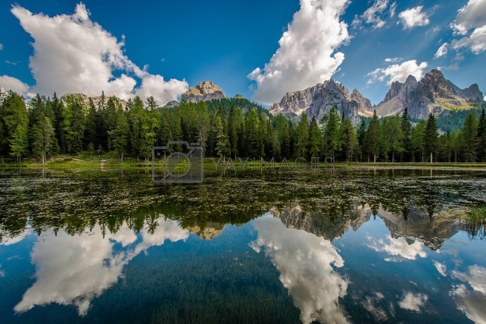 Dolomites Mountain Landscape. Beautiful Summer Scenery in Italian Dolomites. Lake Misurina Reflections.