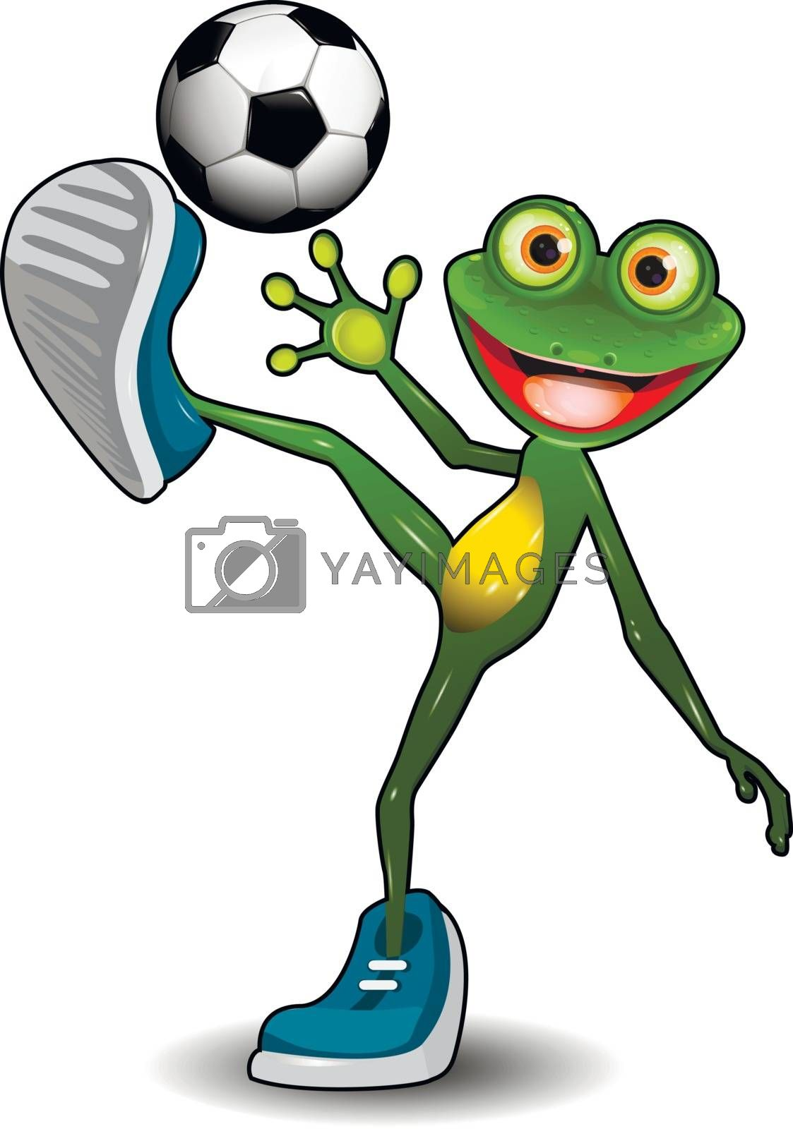 Illustration Green Frog with a Soccer Ball