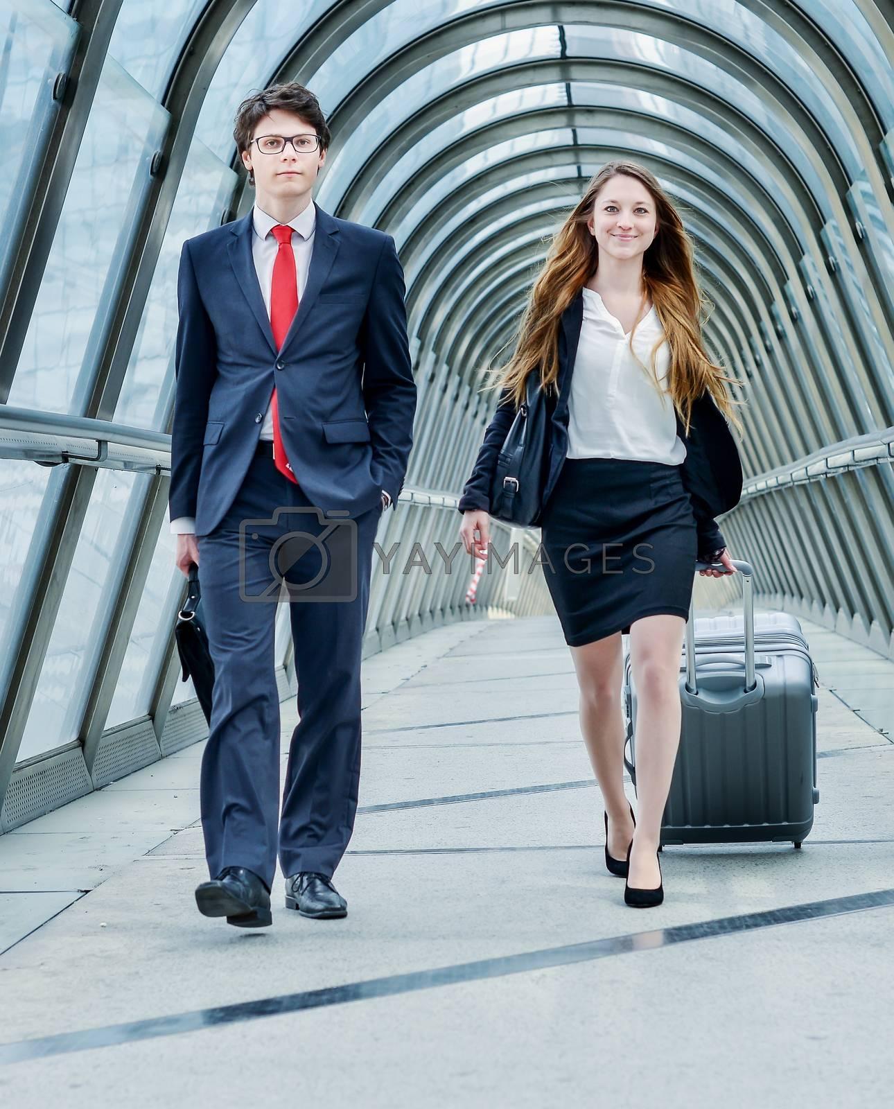 Junior executives dynamics in business trip or corporate seminar