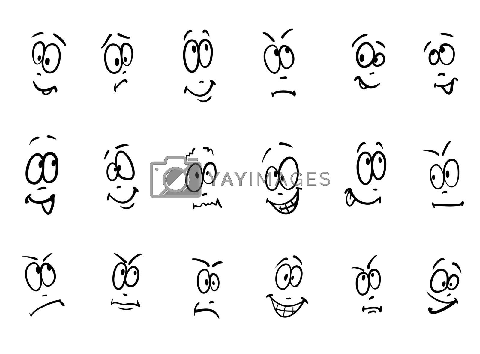 Emotion, vector set of cartoon facial expressions
