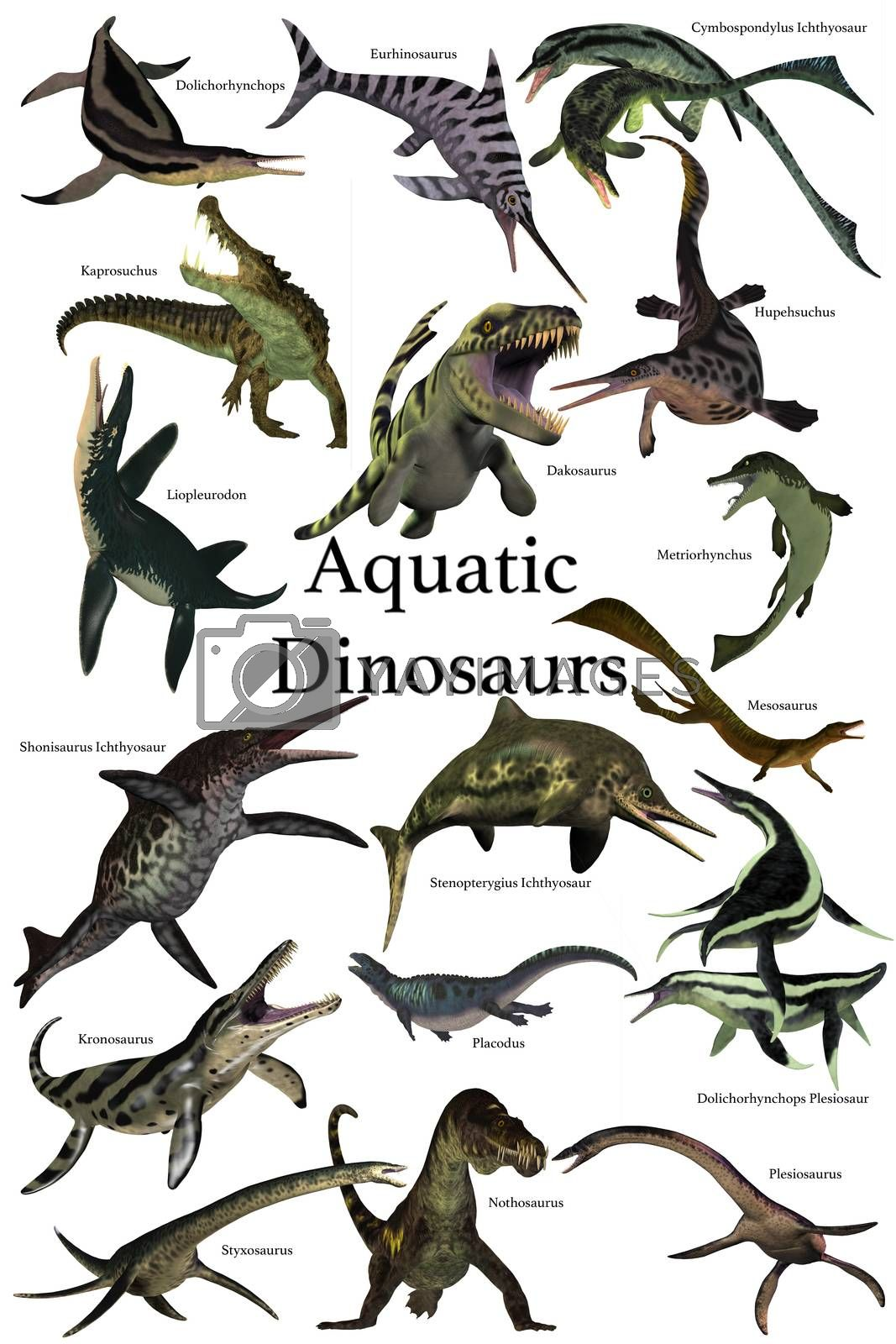 A collection of various marine reptile dinosaurs from different prehistoric periods of Earth's history.