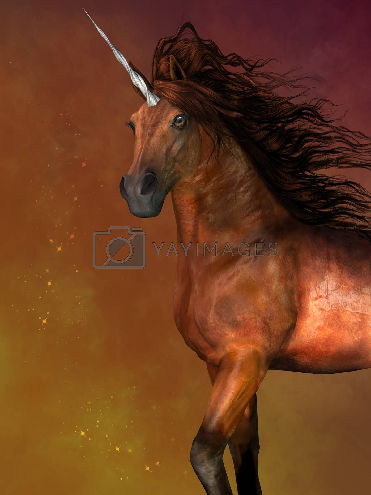 A unicorn is a mythological creature that has the body of a horse and a magical horn on its forehead.