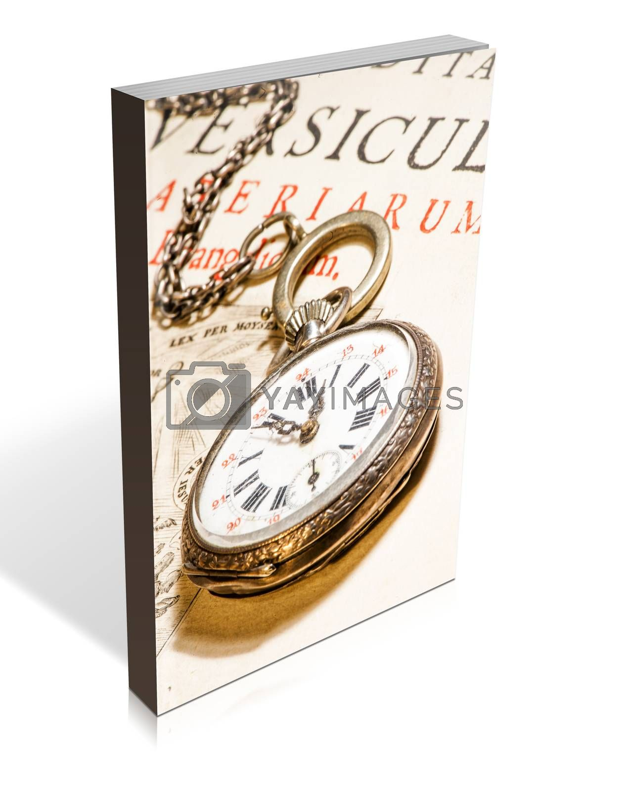 book of antique pocket watch on ancient Bible into Latin